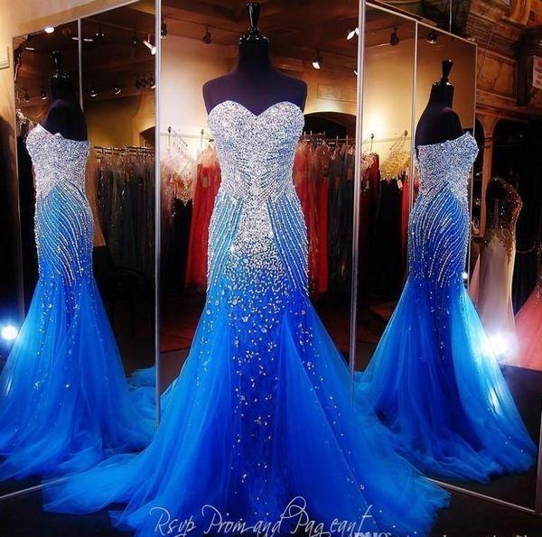 Sexy 2019 Royal Blue sirène longues robes de bal Pageant femmes sexy chérie perles de cristal Robes De Gala Tulle Robes de soirée