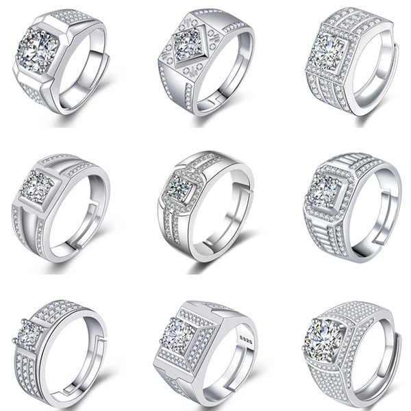 Fashions Cubic Zirconia Rings Crystal CZ Diamond Rings Couples Engagement Ring Women Bridal Wedding Rings Good Quality Jewelry Lover Gifts