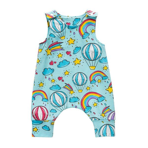 Baby Rompers Sleeveless Jumpsuits Stars Rainbow Hot Air Balloon Cloud Printed O Neck Buttons Kids Designer Clothes Onesies Pullover Rompers