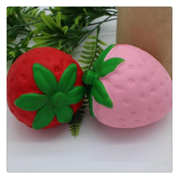Meyve Squishies 4.5 Inç Yavaş Yükselen Squishy Kırmızı Çilek Sevimli Telefon Charms Kolye Stres Giderici Oyuncaklar Ücretsiz Kargo