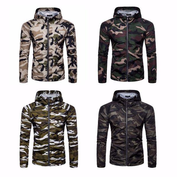 Mode Hommes Cardigan Camouflage Hiver Veste Sweat Outwear Hoodies Zipper Manteau Moleton Masculino Casual Sweat À Capuche