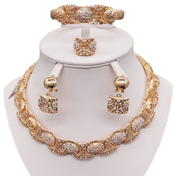 Großhandel Gold Silber Hochzeit Schmuck Set Frauen Brautschmuck Set Halskette Hochzeit Ohrringe Schmuck Indischen Schmuck Von Chengdaphone04 2517