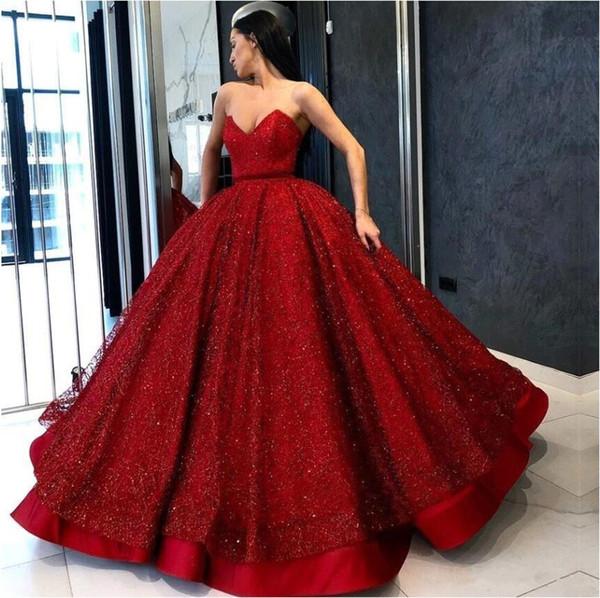 Великолепные красные вечерние платья Элегантные 2019 милая бусины с блестками Атласное длинное бальное платье Пром платья Формальное пышное платье Quinceanera