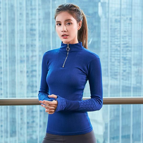 Maglia da donna Sexy Yoga Camicia a maniche lunghe Mezza cerniera Stand Collare Training Top Fitness Sport T-Shirt Gym Workout Running Shirt
