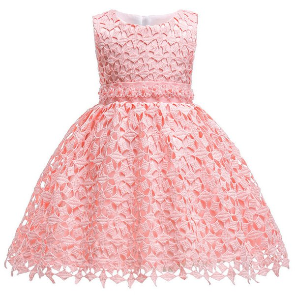 Infant Lace Pageant Formal Prom Wedding Ball Gown 2018 Princess Baby Dress Flower Girls Children Kids Party For Girl Clothes J190514