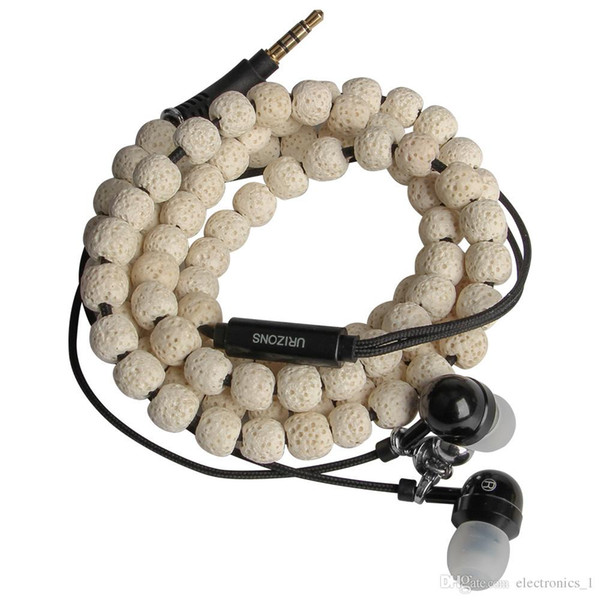 In-stock Multicolor Metal wire control mobile phone headset H157 color volcanic stone necklace earphones game headset for iphone 5