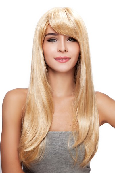 Natural Women Long Blonde Oblique Bangs Straight Rose Net Kanekalon Heat Resistant Cosplay Party Hair Full Wig Wigs