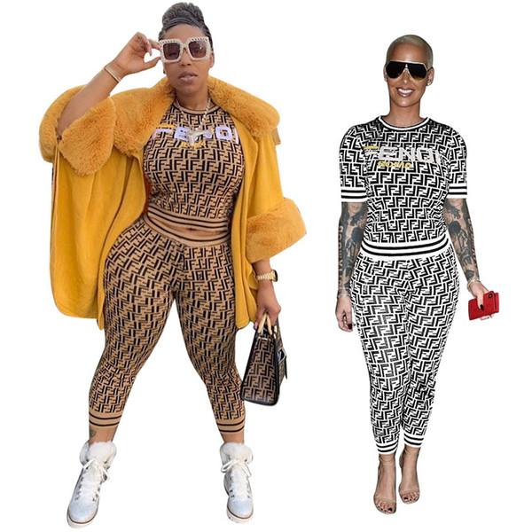 F Mektup Baskı Kadın Eşofman Bayanlar Rahat Kıyafetler Yaz Kısa Kollu Tişört Üst + Pantolon Tayt Moda Sokak Iki Parçalı Set S-3XL C444