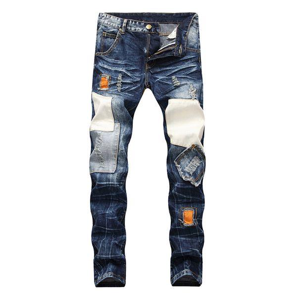 Autumn New Men Patchwork Ripped Slim Straight Jeans Plus Size Vintage Patches Holes Distressed Denim Jean Pants