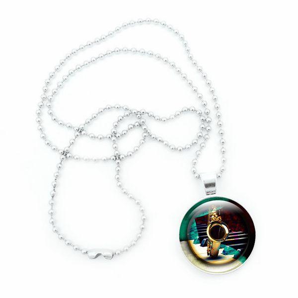 best selling Retro Saxophone Time Gemstone Pendant Necklace Musical Instrument Jewelry Handmade Jewelry