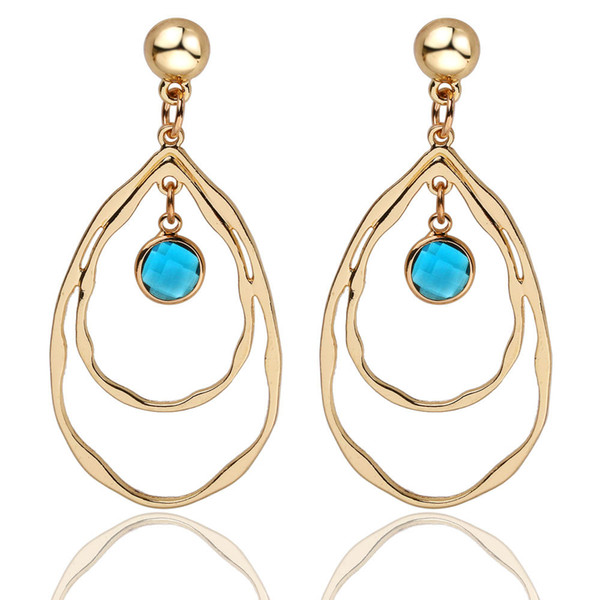 Beautiful Multicolor birthday stone Earrings Fashion Zinc Alloy Cutout Water Drop Earrings Simple and atmospheric gold-plated earrings