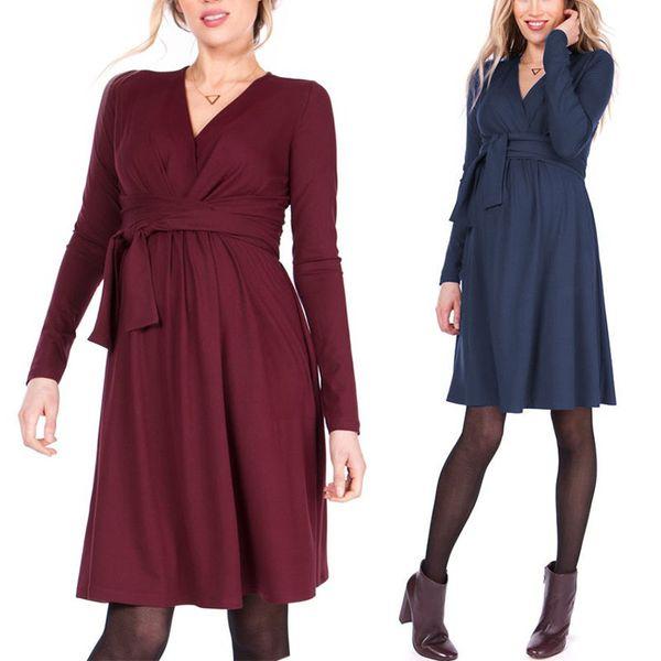 Fashion Nursing Dress Maternity Pregnant clothes V-neck Sash Slim Cotton Women clothing European 2019 Spring Autumn Wholesale Free DHL