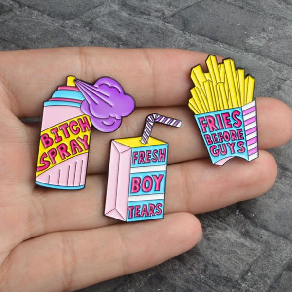 Emaille Pin Spray Drink Broschen Pommes frites pin Frischer Junge brennt vor Jungs Brosche Hut Rucksack Brosche Zubehör Revers Abzeichen