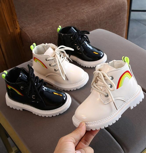 New Winter Children Shoes PU Leather Waterproof Martin Boots Kids Snow Boots Brand Girls Boys Rubber Fashion Sneakers