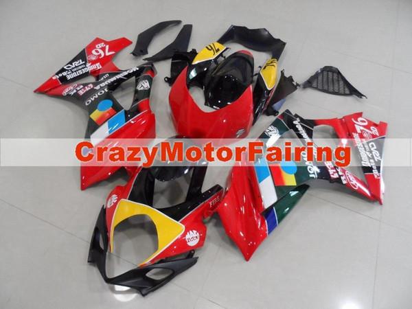 Nuevos kits de carenados de motocicleta ABS de alta calidad aptos para Suzuki GSXR1000 K7 GSX-R1000 2007 2008 07 08 juego de carrocería personalizado rojo 76