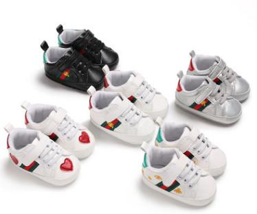 Fashion boys stripe sneakers baby girls pineapple beetles embroidery first walker toddlers star printed non-slip shoes kids shoes A00470