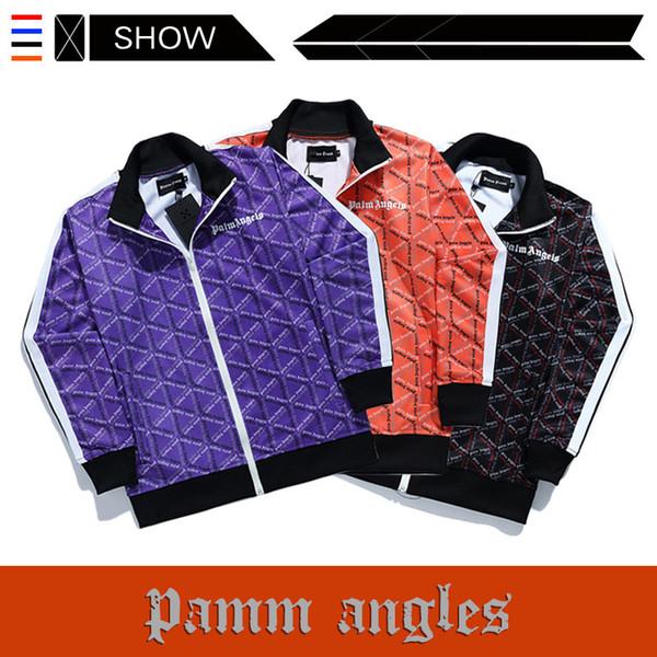 Il popolare logo europeo e americano PALM ANGELS Tuta Sport Casual Lettera Stampa Stand colletto giacca Uomo e donna pantaloni firmati