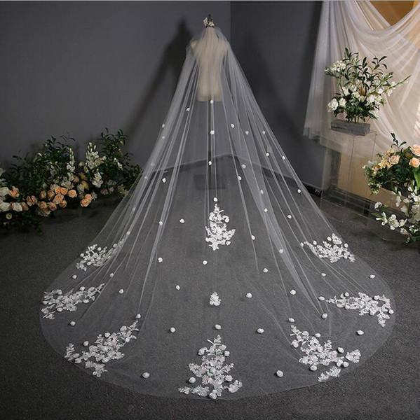 Country Church Lace 3D Rose Flower Applique Bridal Veil Cathedral Length Long White Ivory Wedding Veils Bridal Veil Wedding Accessories..