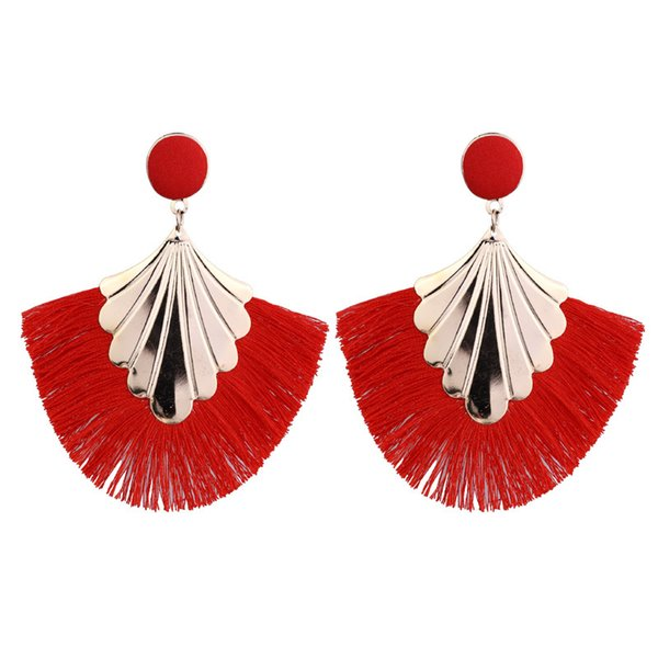 Fashion New Bohemia Fan Shaped Tassel Earrings For Women Exaggerated Big Statement Fringed Earrings Vintage Dangle Drop