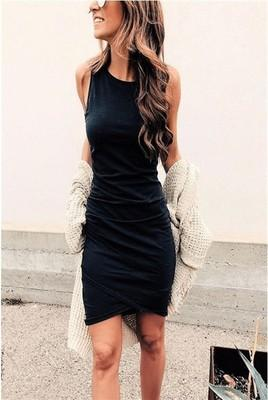 Womens Bodycon Dresses 2019 New Arrival Women Solid Color Sleeveless Short Dresses Ladies Casual Summer Skirts Womens Clothing Size S-2XL