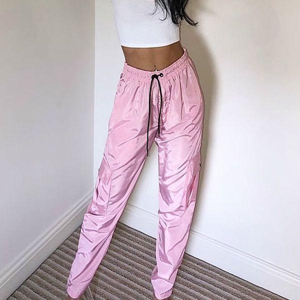 Moda Harajuk Mujer Pantalones Rosados Cintura Alta Hiphop Negro Pantalón Largo Chicas Frescas Combate Joggers Danza Satén Pantalones Harem