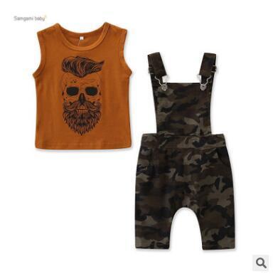 Çocuklar giysi tasarımcısı erkek 2 parça clothing set 2019 yaz kolsuz yelek üstleri + kamuflaj askı pantolon yürüyor boy clothing set