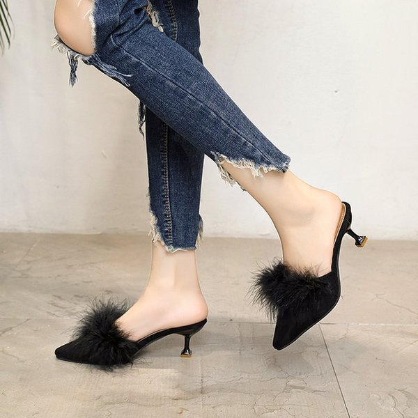 Designer Dress Shoes Woman Fashion Fur Slides Ladies High Heel Slippers Unique Kitten With Dew And Girl Women's Fashion