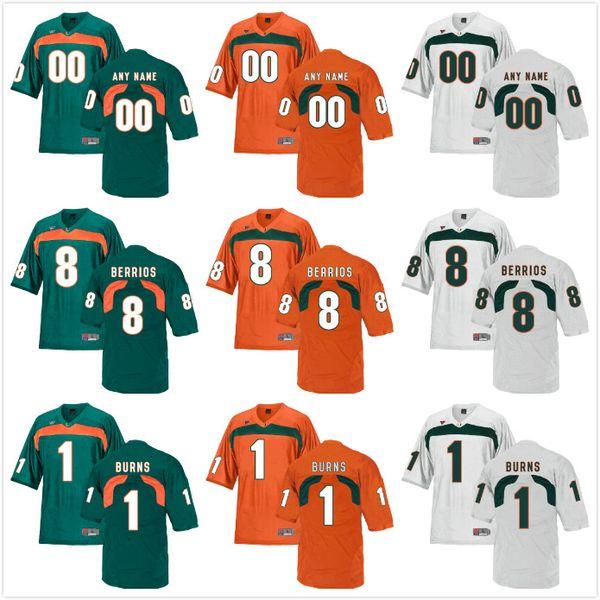 Custom Mens Youth Miami Hurricanes Cualquier nombre Cualquier número Personalizado Niños Hombre Home Away NCAA College Football Jerseys
