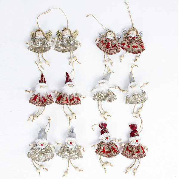 mini Santa Claus snowman angel Christmas Tree Pendant Decoration Xmas Ornaments Gift Bags Christmas Socks New Year Products