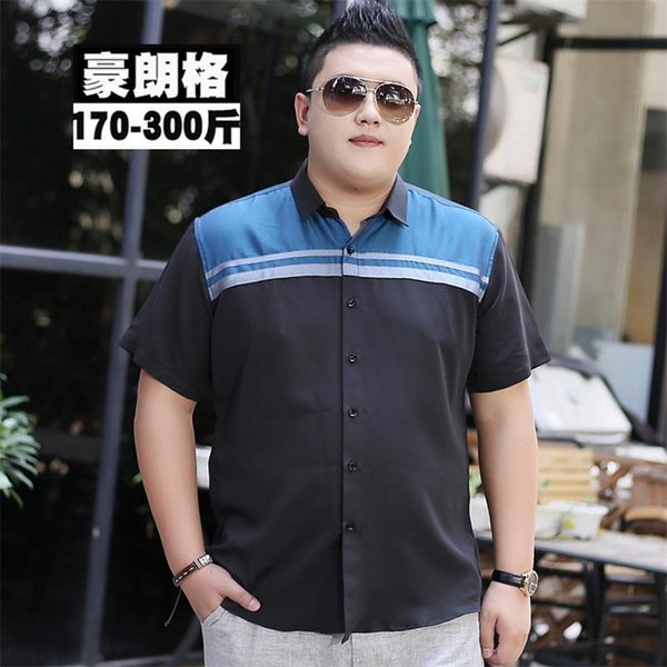 Mens Short Sleeve Shirt 2018 Summer New Mandarin Collar Slim Fit Shirt plus size 10XL 9XL 8XL 7XL 6XL Casual Shirt Men Clothes