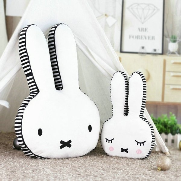 Black and white Rabbit head Pillow Stuffed Classic Bunny Face Throw Pillow Baby Room Decor Baby Bed Pillow home sofa Studio gift