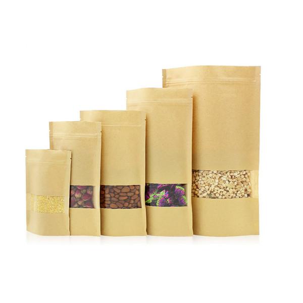 100pcs/lot 30*40cm Wholesale Custom Printed Eco Paper Food Bag Zip Lock Kraft Paper Pouch with Zipper coffee bags tea bags