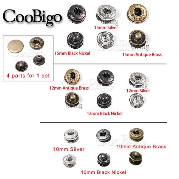 50set/Pack Metal Press Studs Sewing Button Snap Fasteners Sewing Leather Craft Clothes Bags