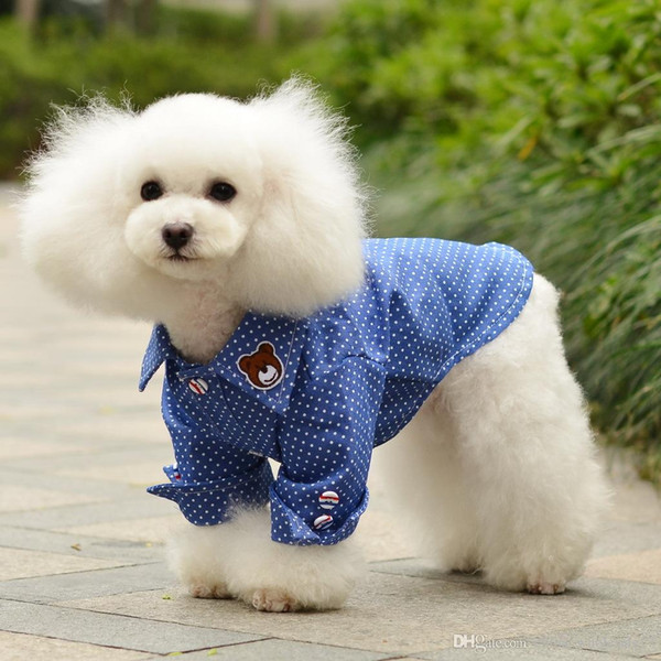 Free Shipping Spring Summer Puppy Dot Jeans Shirt Cotton Pet Clothes