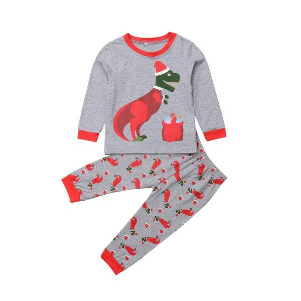 Toddler Kids Baby Girl Boy Ropa de Navidad Conjuntos de Dinosaurio Tops Pantalones Trajes de dormir Pijamas Otoño Invierno Chico Lindo 2-7T