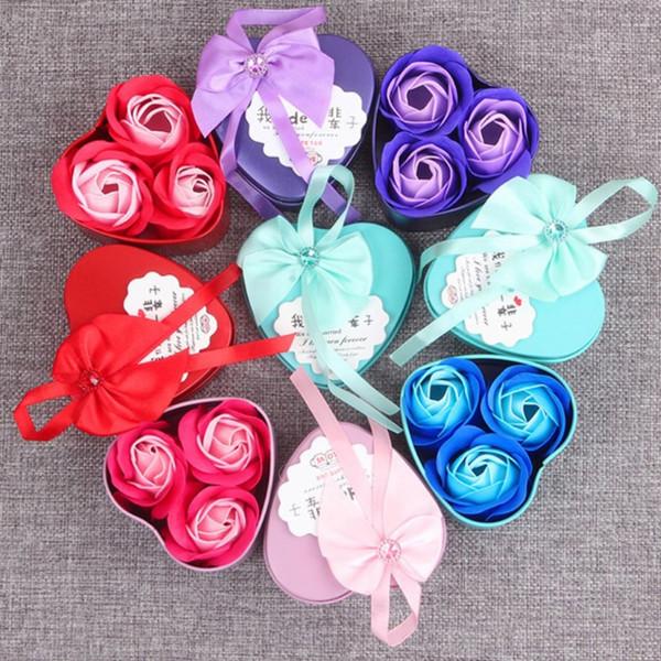 Valentine presente de aniversário presente do dia Mulheres Flower Soap design romântico dos namorados com Adorável Box