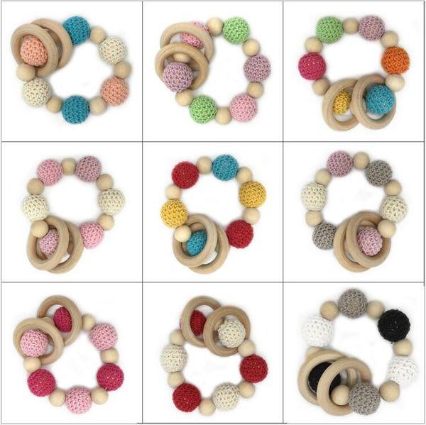 Ins bambini bracciali in legno infantile perline di legno perline dentizione handmake dentizione braccialetto bambino giocattoli non tossici naturali vendita calda TL107