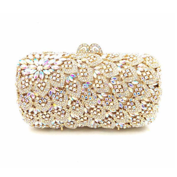 Luxury High-End Peacock Diamonds Evening Clutch Bags Ladies Crystal Metal Clutches Hard Case Party Purse Dinner Banquet Handbags