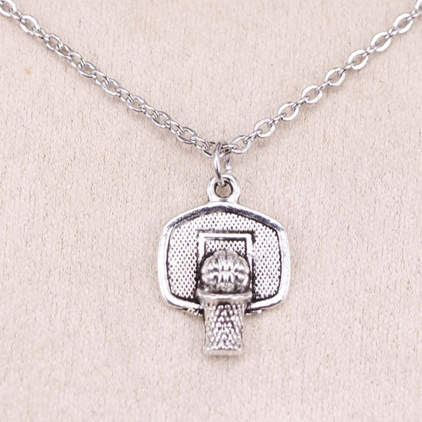 New Fashion Tibetan Silver Pendant basketball basket 20*15mm Choker Charm Short Long DIY Necklace Factory Price Handmade Jewelry