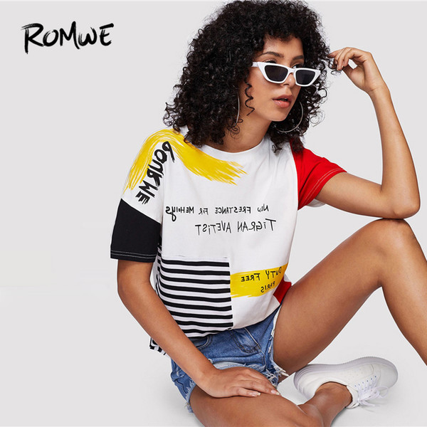 Romwe Carta Imprimir Rayas Cepillo Tee Posh Gráfico Streetwear Verano Tees Mujeres Chic Cuello Redondo Camiseta de Manga Corta Q190516