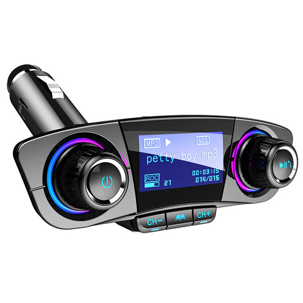 best selling Best bluetooth fm transmitter for car Radio Transmitter Adapter Music Player Hands Free Car Kit with 2 USB Ports TF Card USB playback