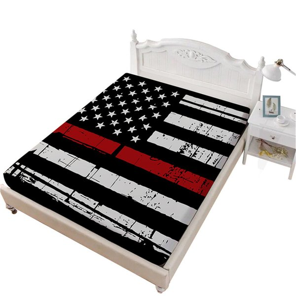 Stars and Stripes Sheet American Flag Design Fitted Sheet King Queen Deep Pocket Bedding Patriot Themed Home Decor D45