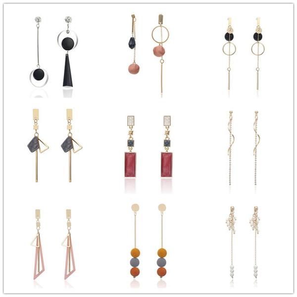 Korean Fashion Geometric Long Asymmetry Earring Rhinestone Circle Ear Stud New Acrylic Big Earrings Bijoux Brincos