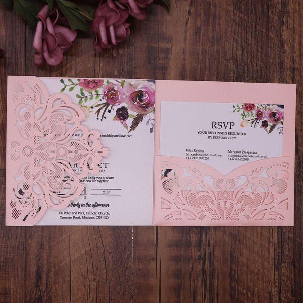 Compre Invitación De Boda De Flores De Impresión Laser Cut Bolsillo Con La Tarjeta De Rsvp Los 15 Años Invitaciones Tarjetas De Invitación