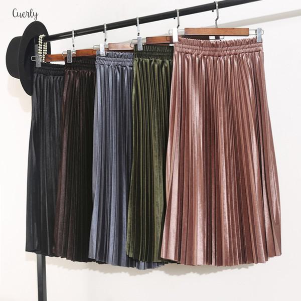 Для женщин Юбки плиссе осень и зима высокой талией Тощий Женский Velvet Юбка плиссе Длинная юбка S9820