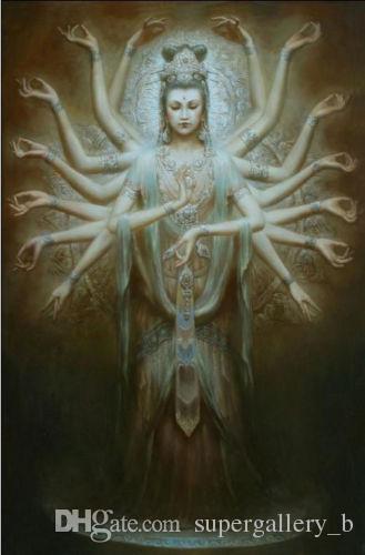 Dunhuang fée Kwan-yin Avalokitesvara Milliers Mains Guanyin Haute Qualité Peint À La Main peinture à l'huile Mur Art Décor À La Maison Sur Toile p121