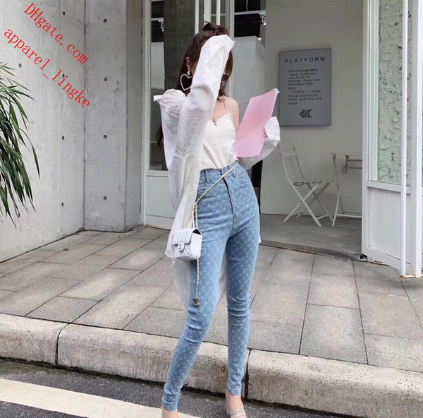 2019 marka Sıcak Stil Tayt Ince Yüksek belli Kadın Kot Streç Kalem Pantolon Sıska Mektup nakış Kot Eğlence kot