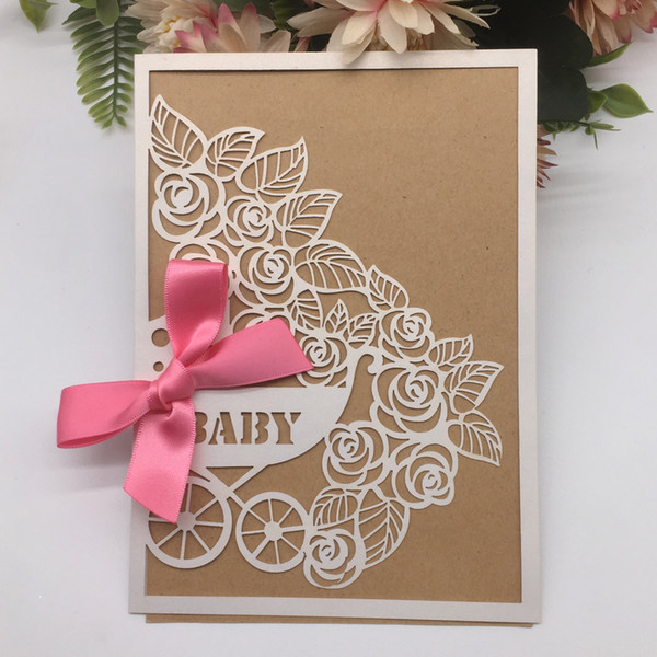 Card And Butterfly Knot Wedding Invitation Card Baby Shower Theme Party Invitation Card And Butterfly Knot Design