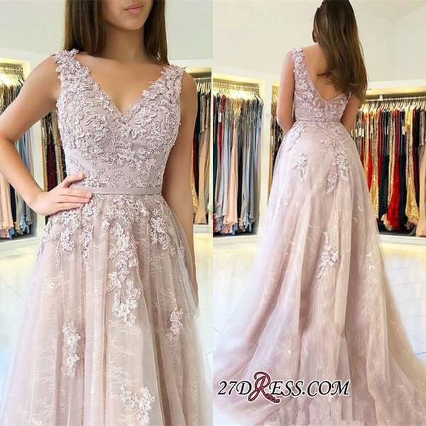2019 Lace Prom Dresses Long V Neckline Low Back A Line Formal Evening Gowns Cocktail Party Ball Dress Celebrity Red Carpet Gown