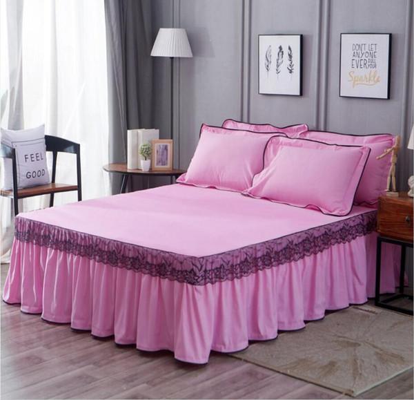 단색 레이스 침대 스커트 베개 핑크 블루 레드 공주 침구 침대 커버 주름 탄성 장착 시트 킹 퀸 사이즈